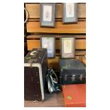 OLD RECORD PLAYER & NEEDLES, SUITCASE, DUFFLE BAG