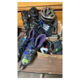 GROUP W/ ROLLER BLADES MITTS, & OTHER SPORTS ITEMS