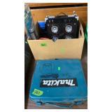 MAKITA CORDLESS DRILL & BOX W/ POWER AMP & MISC