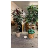 2 ARTIFICIAL TREES & FLOOR LAMP