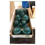BOX OF 9 GREEN INSULATORS