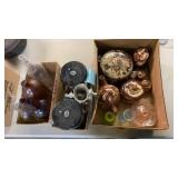 BOX OF BROWN POTTERY, FRIIS COFFEE STORAGE SYSTEM