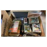 BOX W/ SPORTS CARDS, RED RIDER COMIC BOOK & OTHER