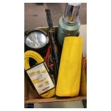 BOX W/ STANLEY THERMOS, EXTENSION CORD, SPOT