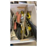 BOX OF MASONRY TROWELS, SAFETY BELT, OIL FUNNELS