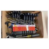 BOX W/ T HANDLE ALLEN WRENCHES & MISC TOOLS