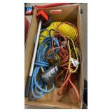 BOX W/ FLEXIBLE AIR HOSE, EXTENSTION CORDS,