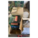 BOX W/ COLEMAN LANTERNS, LANTERN STAND & OTHER