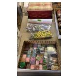 BOX OF BEADING ITEMS, SEWING ITEMS & MISC