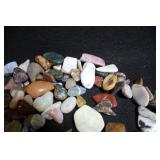 Lot of Polished Agates w/ Pottery Tray