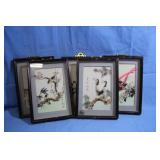 Vintage Oriental Bird Art Pieces Real Feathers