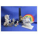 Lot of Unicorn Figures Brass Ceramic