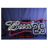 BUD 29 KEVIN HARVICK NASCAR RACING BAR  NEON