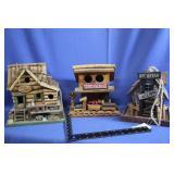 Lot of 3 Decorative Bird Houses