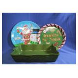 Nice Pottery Lasagna Dish w/ Christmas Platters