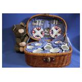 Delton Collectable Tea Set w/ Wicker Basket