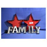 Metal Light up Wall Art  Stars Family Letters