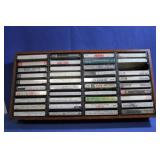 Lot of Vintage Cassette Tapes w/ Holder