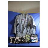 Lot of Great Vintage Jean Coat w/ Feathers L