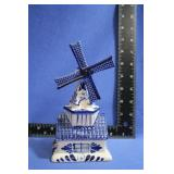 Delfts Blue HandPainted Windmill Coin Bank