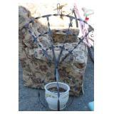 Vintage Metal Hanging Planter w/ Ceramic Pot