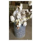 Vintage galvanized cooler with cotton