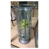 Glass and  metal vase 16in tall