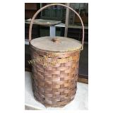 Old Hand wove oak basket with lid 22in tall