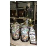 Pair of 30in oriental lamps with odd lamp missing