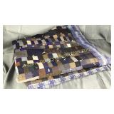Heavy home made flannel backed patchwork quilt
