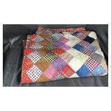 Old handmade diamond pattern quilt great vintage