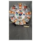 Arita Imari porcelain platter 12in easel not