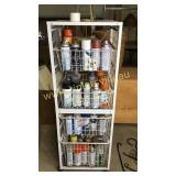 Rolling rack full of spray paint