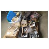Group of furniture parts, toy train tracks, decor