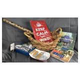 Basket of dog lover items-wrap paper, books, zinc