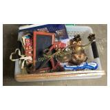 Box of cork board, monkey, chalk board signs,