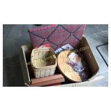 Box of Chinese checkers, memo boards basket,