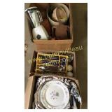 3 boxes of dishes, flatware and other household