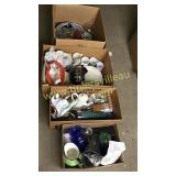 4 boxes dishes, teapots, trophies, kitchen etc