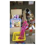 4 boxes with toys and books,
