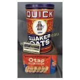 Oats and biscuit tin