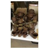Large set of brown graniteware over 60pcs