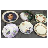 6 plates-handpainted Limoges, Nippon, Bavaria and