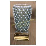 Blue opalescent hobnail footed vase
