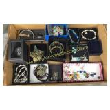 Box of quality costume jewelry-watches,