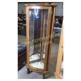 Oak lighted corner curio 23x58h