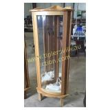 Natural oak lighted corner curio 23xx58h