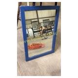 Blue framed mirror