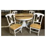 Farm style white and natural finish table and 4