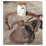 "20"" Antique No.4 Iron School Bell w/Yoke"